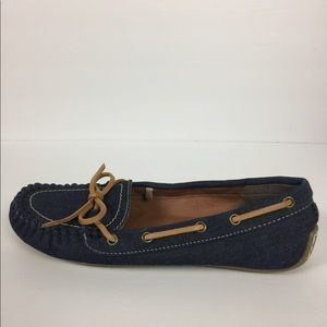 Lucky Brand Denim & Leather Moccasin Style Loafers